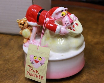 Royal Orleans 1981 United Artists Pink Panther Santa Music Box. New in Box