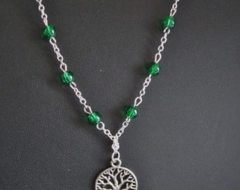 Tree of Life Necklace, Silver Plated with Green beads