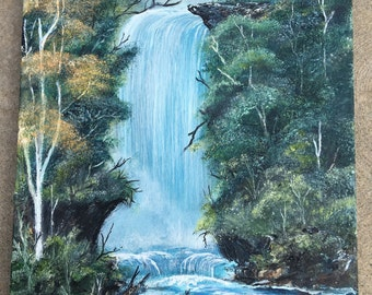 Serenity  waterfall painting  18 in X 24 in
