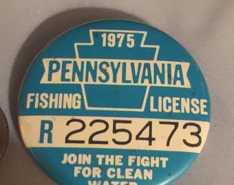 1975 Pennsylvania Fishing Button