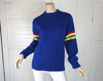 70s Rainbow Stripe Sweater- Royal Blue- 1970s Disco- Men / Women
