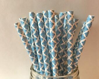 Paper Straws, Blue Damask Paper Straws, Damask Straws, Blue Damask Straws, Party Straws, Wedding Shower, Weddings, Birthday, Christmas, 10