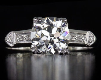 Original Vintage Old European Cut Diamond Engagement Ring Platinum Antique Pre-Owned Vintage Single Cut   8290