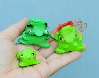 polymer clay Booger family cute figurine family of green boogers