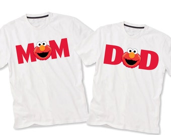 Mom and Dad, Sesame Street iron on transfer, elmo Sesame street birthday party shirt iron on transfer, printable file JPG