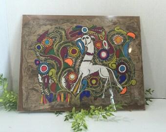Folk Art Tree Bark Vintage Painting