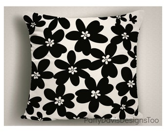 Black and White Throw Pillows, Decorative Pillows with Flowers, Large Pillow Covers, 14 x 14, 16 x 16, 18 x 18, 20 x 20