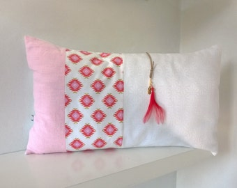 Ethnic rectangular Cushion cover pink
