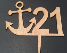 Nautical theme 21st Birthday cake Topper