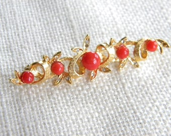 Costume brooch with GENUINE red CORAL beads - inA932