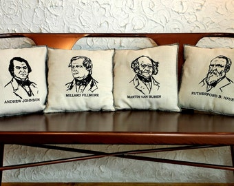 Set of 4 Embroidered Upcycled Canvas Vintage Graphic President Pillows