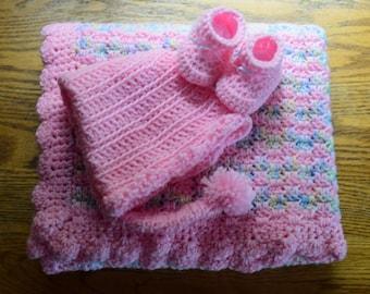 Crochet Baby Blanket: Cotton Candy Newborn Gift Set
