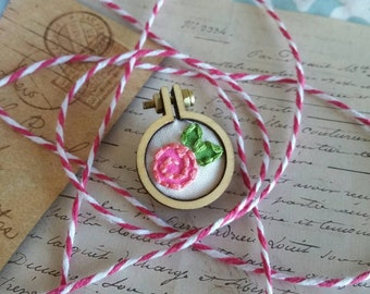 Pink Rose Embroidery Hoop Novelty Brooch Needlepoint