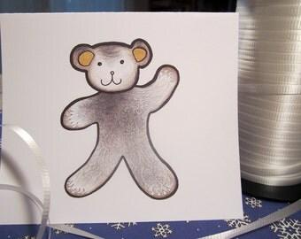 Waving Bear note card