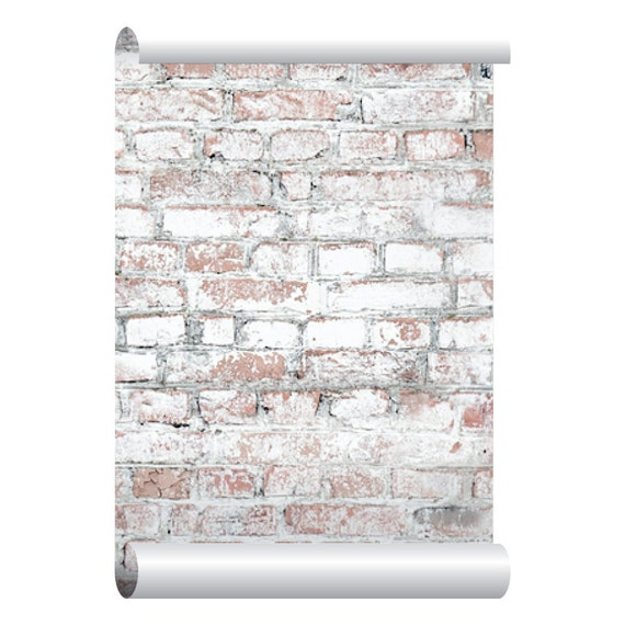 Self adhesive removable wallpaper white washed brick for White adhesive wallpaper