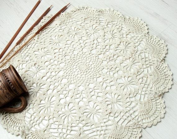 Cream Crochet Doily, Large Crochet Doily, Christmas gift, lace doily, home decor, table decoration, handmade, center piece