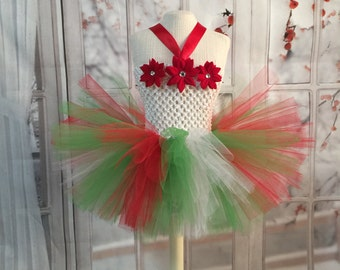Christmas tutu dress. Holiday tutu dress. Comes with free bow. Christmas tutu outfit.  Poinsettia dress
