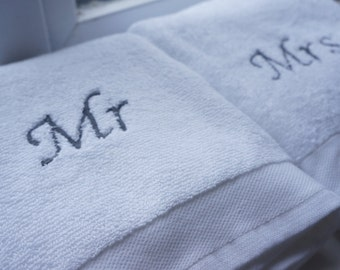 Mr and Mrs / His and Her embroidered hand towels