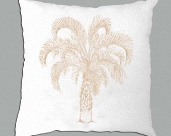 Palm Tree Pillow , Palm Tree Illustration Khaki, Lavender, Teal on White pillow cover