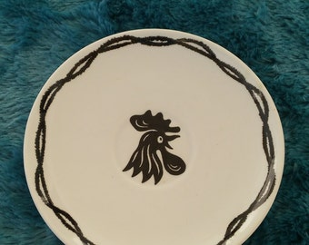 A Vintage 1950's Black And White Rooster Saucer