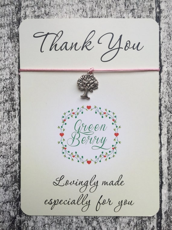 "Tree of Life charm String Bracelet on ""Thank You"" quote card madebygreenberry wish bracelet"
