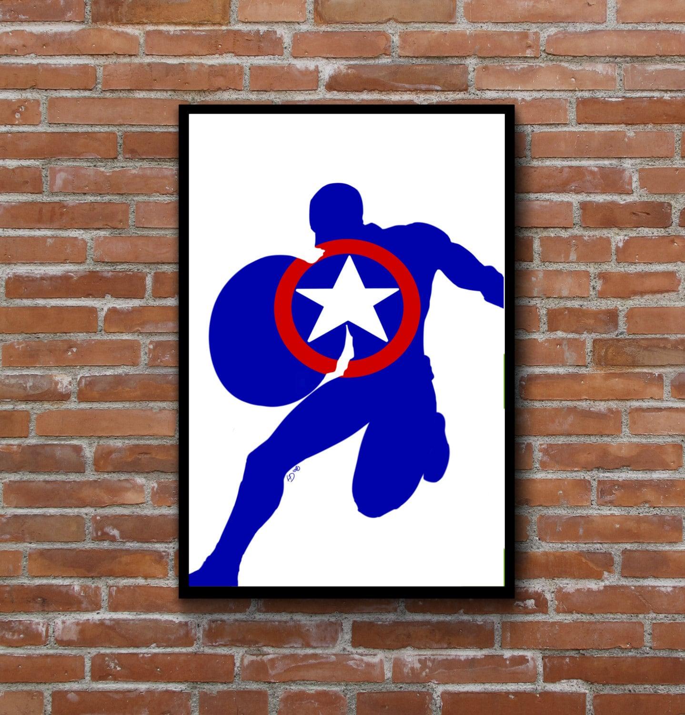 Captain America Minimalist Silhouette Wall Art Marvel Comics