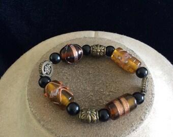 Vintage Shades Of Brown & Black Glass Beaded Bracelet
