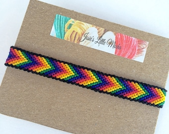 LGBT Chevron Friendship Bracelet / LGBT Friendship bracelet / Gay Pride Bracelet / Pride Bracelet / Rainbow Bracelet /  Colorful Bracelet