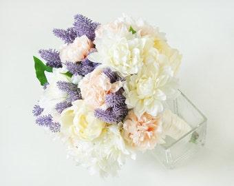 Rustic Wedding Bouquet,Silk Peonies Bouquet,Pink Bouquet,Shabby Chic,Bridal Bouquet, Lavender Bouquet,Peony Bouquet