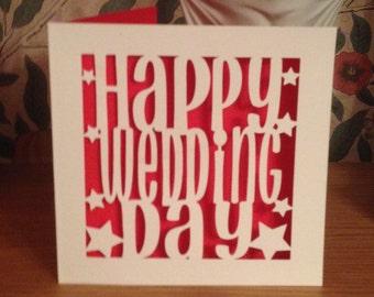 Papercut -Wedding Card -  Happy Wedding Day