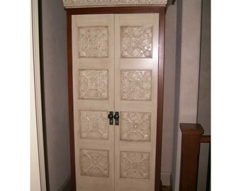 Mini Armoire For Alcoves or Large hallways Features Tin Accents