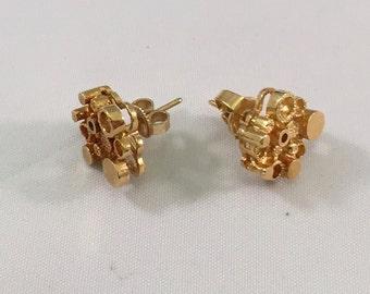 Unique 18K Gold Circle Sculpture Earrings