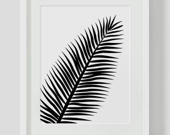 Black and White Tropical Leaf INSTANT DOWNLOAD Art, Printable Art, Tropical Jungle Leaf, Leaf, Art Print, Botanical Leaf, Download