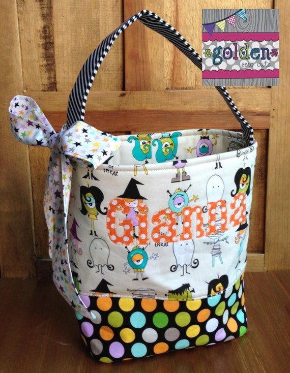 Personalized Halloween Trick or Treat Fabric Bag, Candy Bucket with bow, Costume Party and Dots