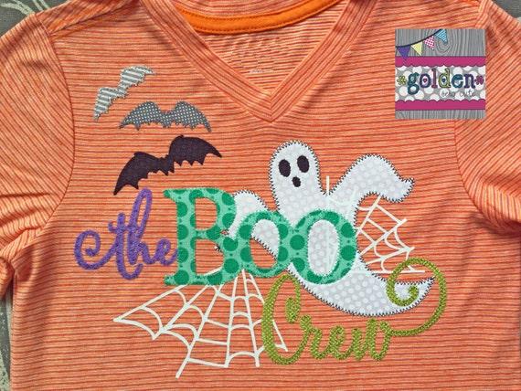 GLOW in the dark Halloween The Boo Crew, Ghost, Spiderweb, Spider, Bats Boy Tee, Boy Shirt, Onesie