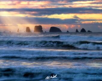 Renewal, sunrise, landscape, nature, seascape, la push, twilight, nature, god rays, waves, ocean, beach,