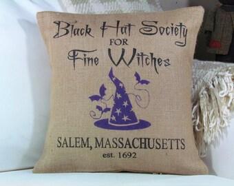 Halloween Pillow, Witch Pillow, Burlap Pillow, Halloween Decor, Fall Decor, Witch Decor