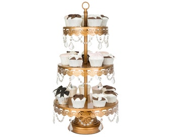 Gold 3 Tier Crystal Cupcake Stand, 3 Tier Cake Stand, Crystal Cake Stand, Tiered Cupcake Stand, Cake Stand, Dessert Stand, Wedding, Party