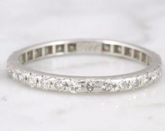 Marie Vintage Platinum Diamond Eternity Band