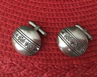 Navajo Sterling Silver Concho Cufflinks