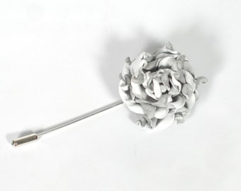 White rose lapel rose boutonniere Mens Gift for him gift groomsmen boutonniere white wedding summer boutonniere Groom gifts leather jewelry