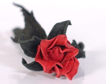 Mens wedding boutonnieres Groomsman Boutonniere red rose leather brooch Flower lapel pin