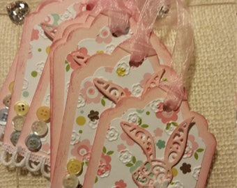 Girl Baby Shower Tags- baby shower favor tags- bunny shower favor tags