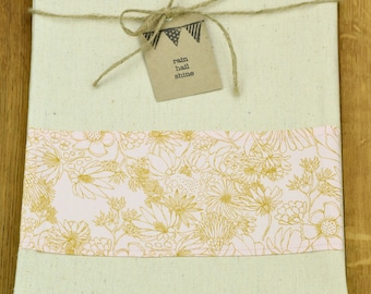 Unbleached Hemp and Organic Cotton Tea Towel Pastel Pink Wild Flowers Feature
