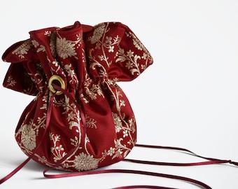 Red Silk Drawstring Pouch, Up cycled, Sari Silk, Bridal Bag, Small Pouch, Drawstring Bag, Flower girl Bag, wedding bag