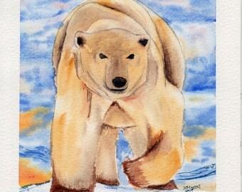 White Bear- Animal Watercolor Painting-
