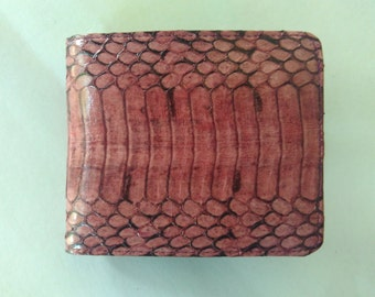 Best Price Real Genuine Leather Wallet Exotic Snake skin Bifold Purse Mens Brown