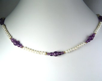 Freshwater Pearl and Amethyst Necklace Gold