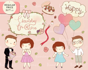 15% OFF SALE Vector The Cute Chubby in love clipart set/png/jpg/Illustration