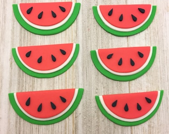 Watermelon Cupcake Toppers - Edible Fondant - Set of 12